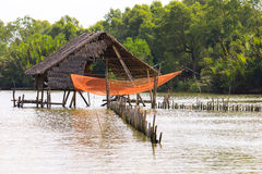 Hut in river for fisherman fishing and hunt food Royalty Free Stock Photo