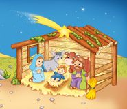 Hut with the sacred family. Digital illustration of the scene of the Nativity Stock Image
