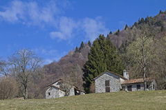 Hut on the San Boldo Pass. A small mountain pass in the Italian region Veneto Royalty Free Stock Images