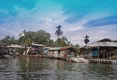 Hut at the sea. Simple life on panamas caribbean coast Royalty Free Stock Photography