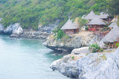 Hut sea view. Beautiful hut resort on hill view sea Stock Image