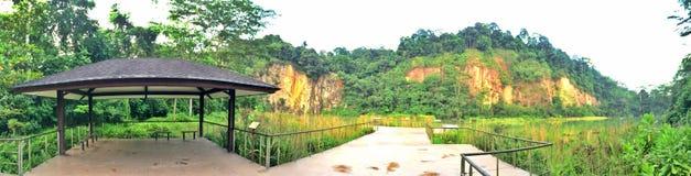 Hut at Singapore quarry lake. Shelter beside viewing platform of a disused granite quarry at Bukit Timah nature reserve, Singapore Stock Photo