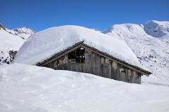 Hut at Ski Resort in Arlberg Mountains. Austria Stock Photos