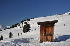 Hut on a ski slope Royalty Free Stock Images