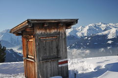 Hut on a ski slope. This is an administrative hut built on the side of a ski slope Royalty Free Stock Images