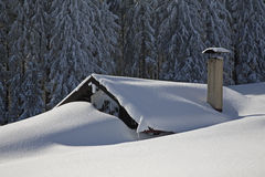 hut and snow Royalty Free Stock Images