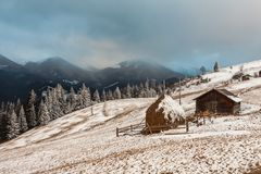 Hut in the snow Stock Photography