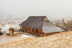 Hut in the snow Stock Image