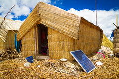 Hut with solar panels, regenerative energy system Royalty Free Stock Photography