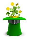 Hut St. Patricks mit Münzen und Klee stock abbildung