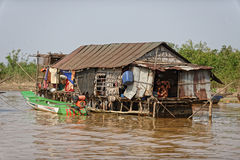 Hut on stilts, Tonle Sap, Cambodia. Boat tied alongside hut on stilts in river at Tonle Sap, Cambodia Royalty Free Stock Photo