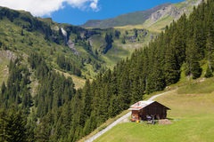 Hut in the Swiss Alps Royalty Free Stock Photography