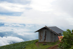 Hut at the top of mountain Stock Image