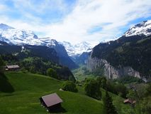 Hut at Top of Swiss Glacier Valley royalty free stock images