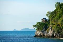 Hut on tropical birds nest island. A hut on tropical birds nest island Royalty Free Stock Images