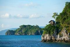 Hut on tropical birds nest island Stock Photos