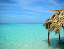 The hut at tropical cristal water Stock Image