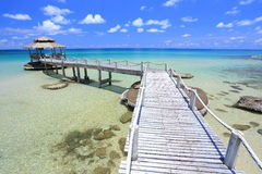 Hut in tropical sea Stock Photography