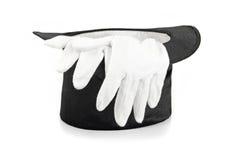Hut und Handschuhe der schwarzen Magie lizenzfreie stockfotos