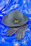 Hut und Lederhandschuhe Lizenzfreie Stockfotos