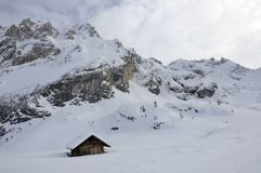 Hut under collac peak, dolomites Stock Photo