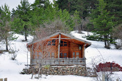 Hut under snow Stock Photo