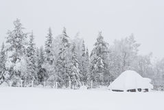 Hut under thick snow Stock Photos