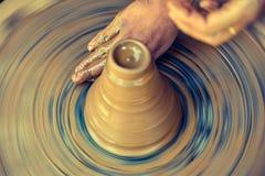 Pottery handmade clay wheel stock images