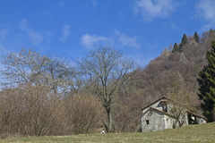 Hut in Veneto. Hut on the San Boldo Pass a small mountain pass in the Italian region Veneto Royalty Free Stock Images