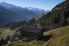 Hut with a view on the snowy mountains, Tirol Austria Stock Images