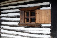 The hut window. Ancient house Royalty Free Stock Images