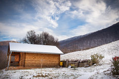 Hut in the winter Royalty Free Stock Photo