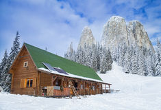Hut in winter mountain Stock Photography