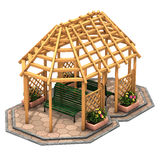 Hut wooden gazebo Stock Image