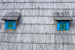 Hut wooden roof with windows Royalty Free Stock Photo
