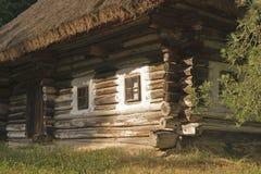 The hut of the XVII century. Carpathian hut XVII century in the traditional Ukrainian style Stock Photo