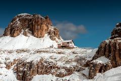 Hute dichtbij Tre Cime, Dolomiet, Europa Stock Afbeeldingen
