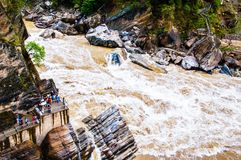 Hutiao gorge(Hutiaoxia) water fall Royalty Free Stock Photos