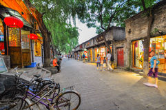 A Hutong behind all the bars in Houhai, Beijing stock photo