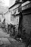 Hutong bikes. Bikes parked in Beijings old town original buildings the hutongs stock image