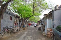 Hutong bikes. Bikes parked in Beijings old town original buildings the hutongs stock photo