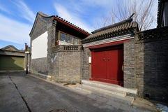 Hutong och allery \ gata i Beijing Arkivfoto