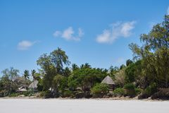 Huts along the beach. Of the Indian Ocean in Kenia Royalty Free Stock Images
