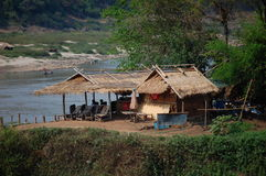 Huts on the banks of the Mekong Stock Images