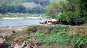 Huts on the banks of the Mekong. In Luang Prabang, Laos Royalty Free Stock Photography