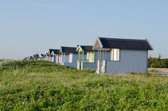 Beach huts. Huts on a beach in sweden Stock Photo