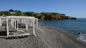 The huts on beach at luxury hotel. Crete, Greece stock video