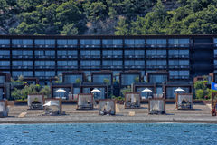 Huts at the beach of luxury hotel Stock Image