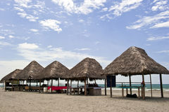Huts on the  beach in Monpiche Stock Photos