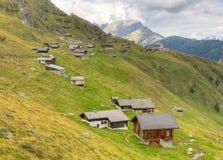 Huts at Belalp. Switzerland. Wooden blockhouse huts at Belalp Aletsch glacier area Valais, Switzerland stock photo